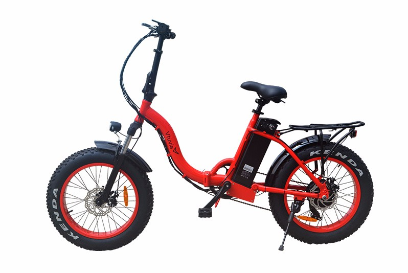"VTUVIA Fat Tire Electric Bike City Bicycle 20"" 4.0 inch Fat Tire ebike 350W 48V/13AH Electric Folding Bicycle with 7 Speeds Lithium Battery Black/Red/White (Red)"