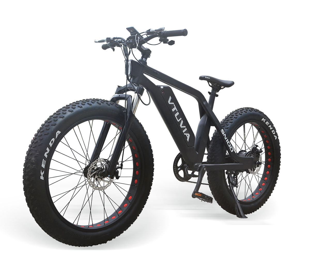 "VTUVIA Fat Tire Electric Bike Beach Snow Bicycle 26"" 4.0 inch Fat Tire ebike 500W 48V Electric Mountain Bicycle with 7 Speeds Lithium Battery Black"