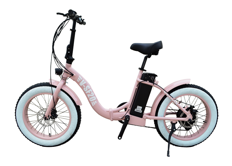 VTUVIA SF20 48V 500 Watt Geared Rear hub Motor 20 inch Step Through Folding Electric Bike Pink