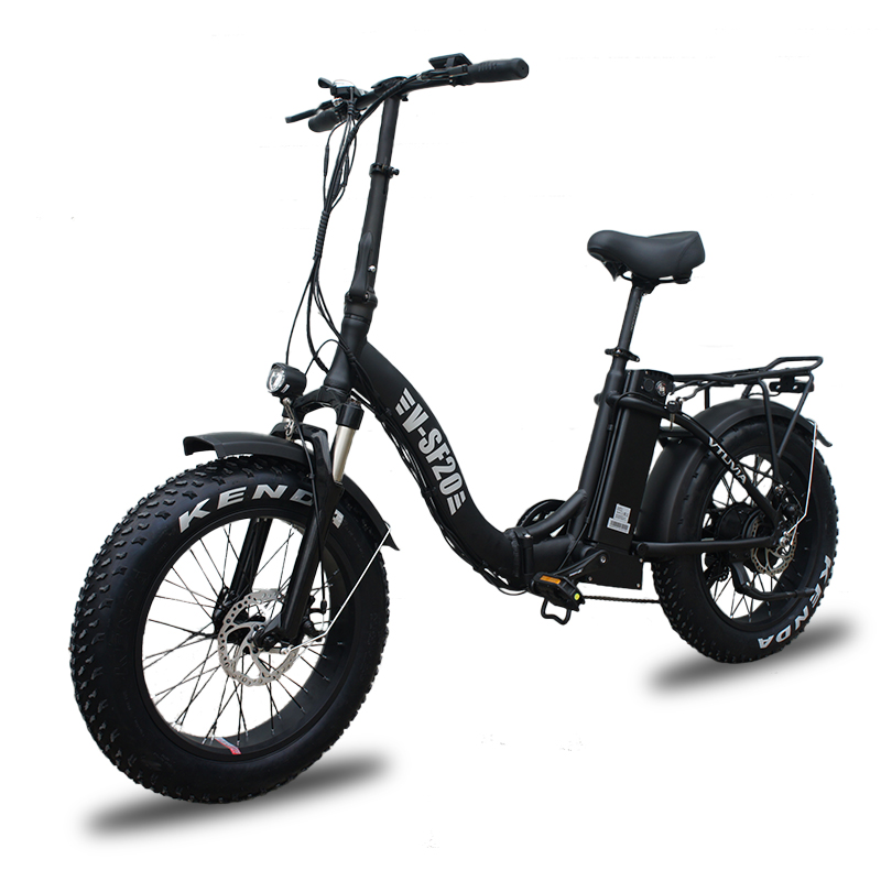 20'' Black fat tire foldable city electric bicycle for adults