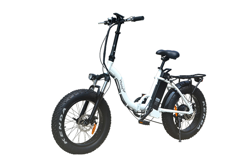 "VTUVIA Fat Tire Electric Bike City Bicycle 20"" 4.0 inch Fat Tire ebike 350W 48V/13AH Electric Folding Bicycle with 7 Speeds Lithium Battery Black/Red/White (White)"